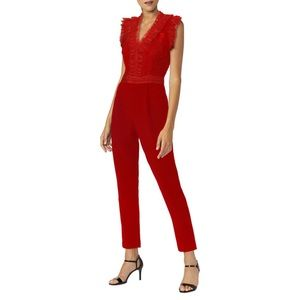 NEW Adelyn Rae Lace Ruffle Sleeveless Red Jumpsuit